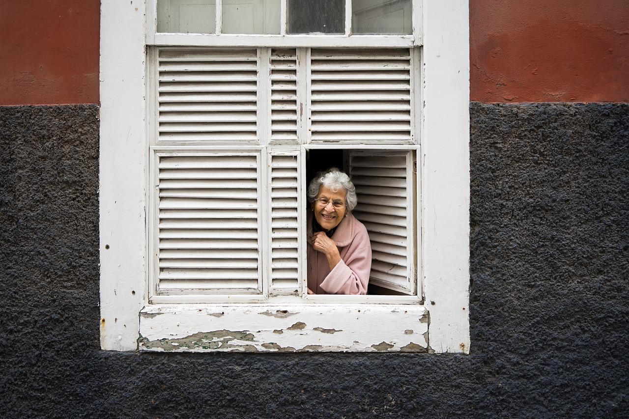 lady, window, woman